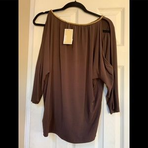 Michael Kors slit sleeve top with Gold neck chain